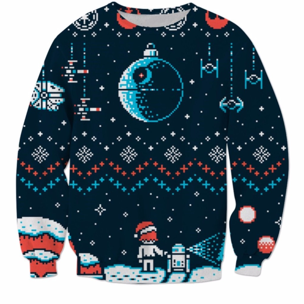 PLstar Cosmos Star Wars Christmas Space Ugly Sweateshirt 3d Print Crewneck Pullovers Casual Long Sleeve Outerwear