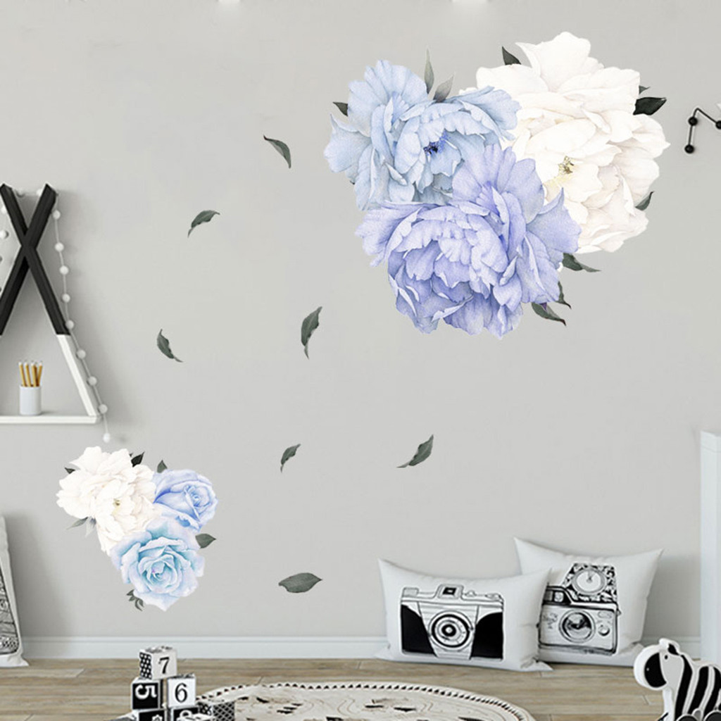 White Blue Peony <font><b>Wall</b></font> <font><b>Sticker</b></font> <font><b>Retro</b></font> Literary Living Room Decoration Beautiful Flowers <font><b>Wall</b></font> Decor Bedroom Mural Home Decor K1 image