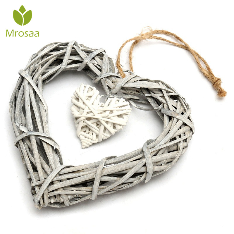 Heart Rattan Wicker Hanging Decorations Love Sepak Takraw Wedding Rattan Ball Decor Home Party For Valentines Love