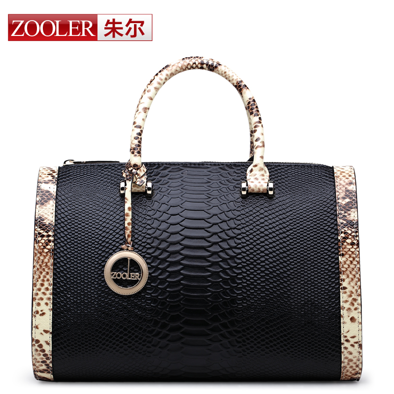 ZOOLER Luxury Women Genuine Leather Bags Boston Handbag Famous Brand Shoulder bag Snake Pattern Messenger Bag Satchel Bag bolsas