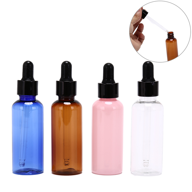 One Piece 50ml Empty PET Aluminum Dropper Oil Essential Bottle In Refillable Drop Liquid Pipette Bottles