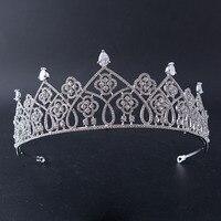2017 großen Europäischen Braut Hochzeit Crown Silber Überzogene Österreichische Kristall Große Königin Krone Hochzeit Haarschmuck das Beste Geschenk