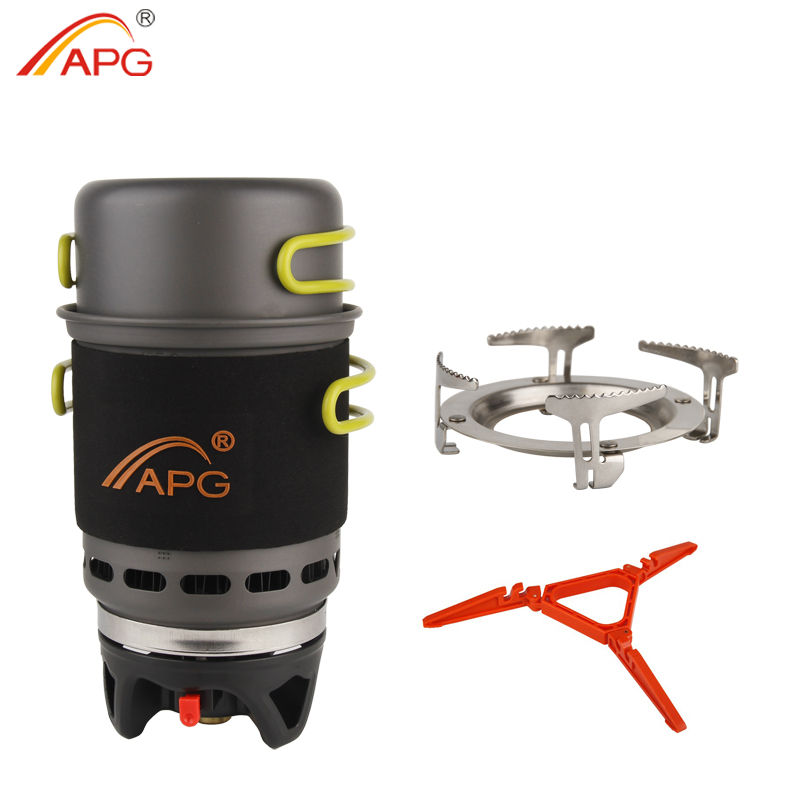 APG Camping Cookware Bowl Pot Pan Tableware Combination Gas Cooking System Outdoor Cooker Portable Gas Stove Propane Burners apg portable camping gas burners system and camping flueless gas stove cooking system