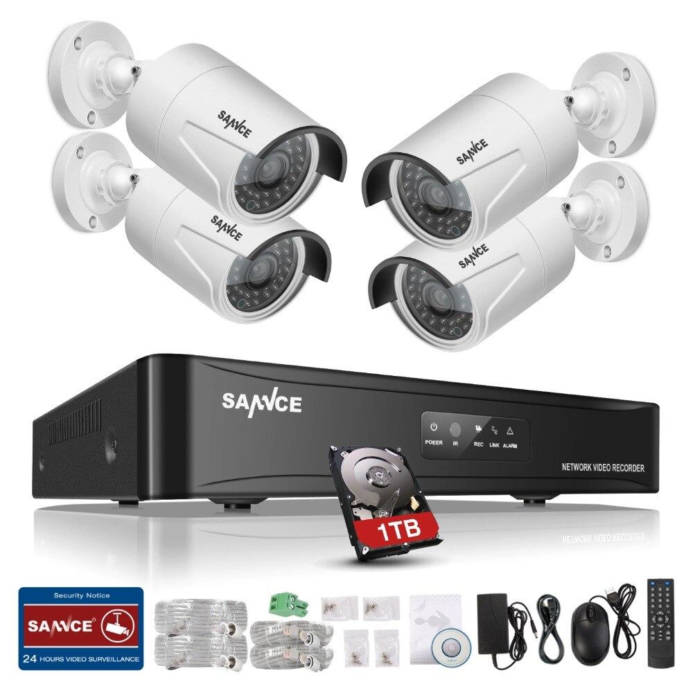 bilder für Sannce hd 960 p poe 4 stücke 1.3mp ip netzwerk home security kamera CCTV System 4CH HDMI NVR E-mail Alarm Überwachungssets 1 TB HDD