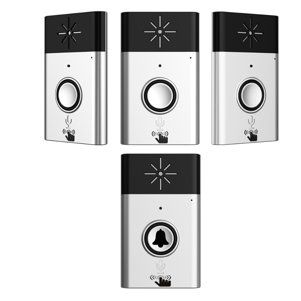 XINSILU New Arrival Digital Wireless Audio Doorbell,home security intercom system doorphone Silver color 1transmitter+3receiver