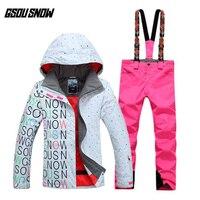 GSOU снег Для женщин двойной одноплатный лыжный костюм Открытый толстые теплые Спортивная дышащая Водонепроницаемый Лыжная куртка лыжные шт