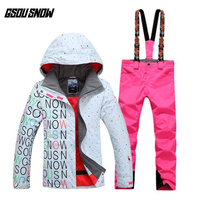 GSOU SNOW Women's Double Single Board Ski Suit Outdoor Thick Warm Sport Breathable Waterproof Ski Jacket Ski Pants Size XS L