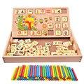 2016 Varas de Contagem de Madeira Brinquedos Do Bebê Blocos de Construção da Educação Matemática de Montessori De Madeira Caixa de Presente da Criança