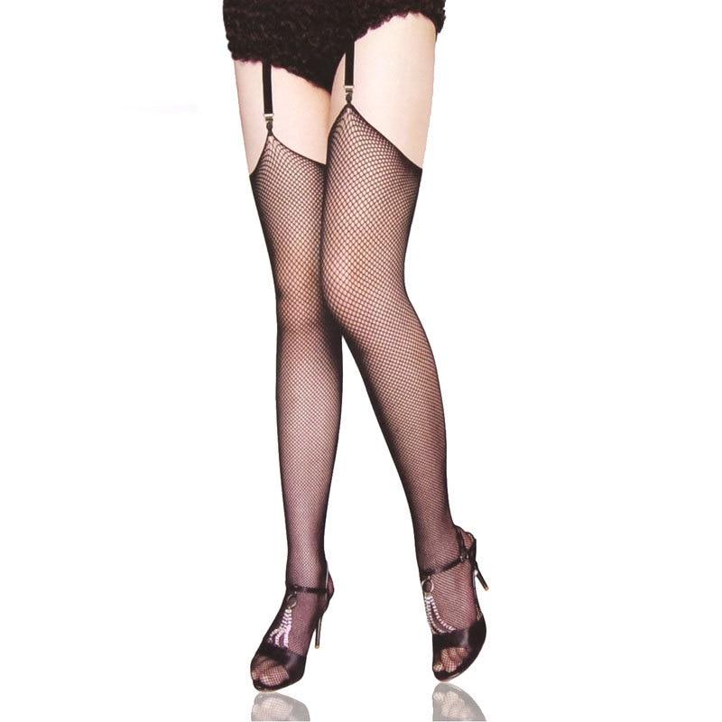 Women sexy Thigh Highs Fishnet Stockings free Size Over Knee Stocking Nylon Erotic Lingerie black