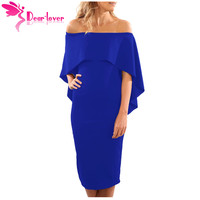 Dear Lover Off Shoulder Dress Women Work Fashion Wine Blue Luxurious Batwing Cape Midi Party Dress
