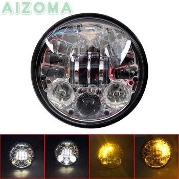 Chrome Motorcycle 5.75'' Round LED Headlight w/ Amber Turn Signal Lights For Harley Softail Fat Boy FLST Dyna Street Bob FXD FXR