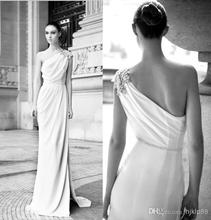 Wholesale - 2014 New Arrival One-shoulder Crystal Beads Berta Bridal Wedding Dresses Small A-line Evening Gowns Sheath Beach Wed