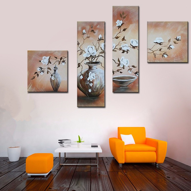 Modern Art Abstract Painting Green Blue Forest 3 Panel