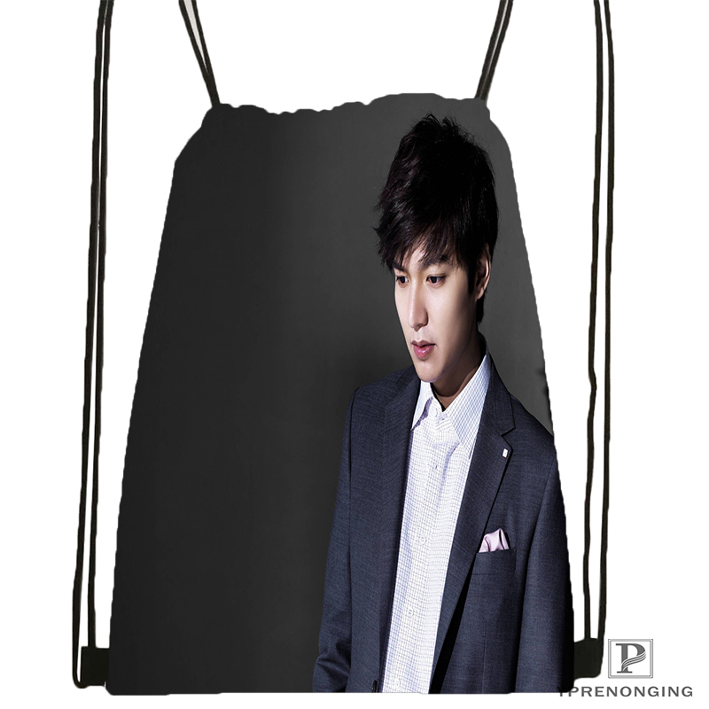 Custom Lee Min Ho Drawstring Backpack Bag Cute Daypack Kids Satchel (Black Back) 31x40cm#180531-02-38