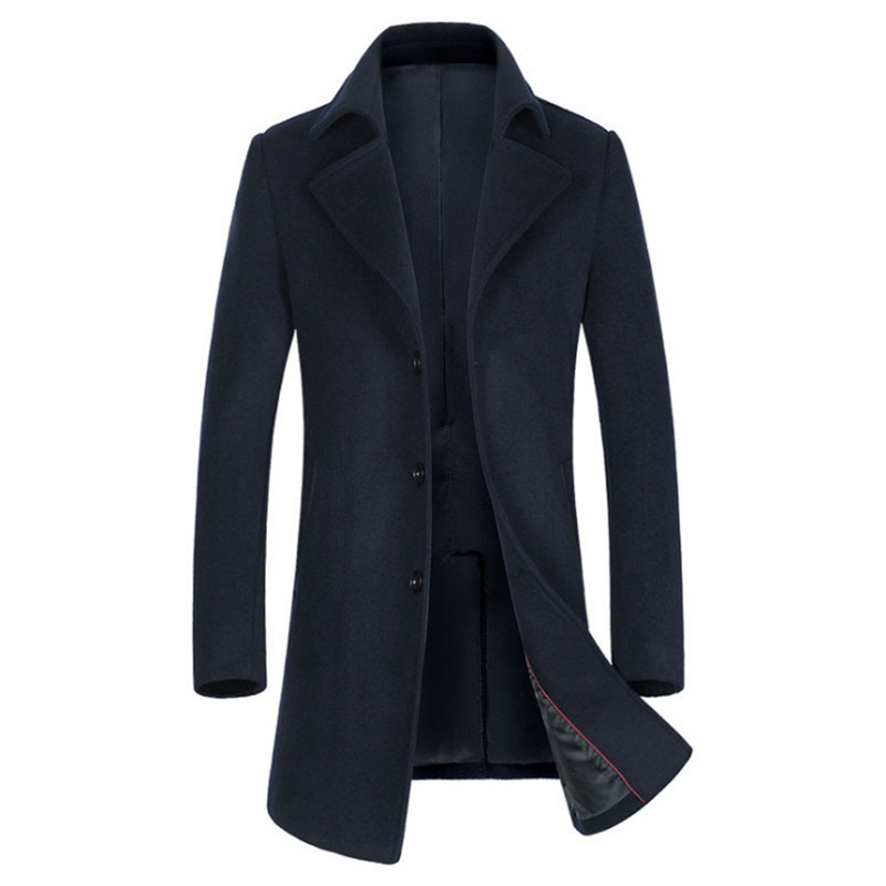 Newest Men's Wool Coats Autumn Turn-down Collar Long Windbreaker Jacket Winter Wool Blend Woolen Coat Men Brand Overcoats