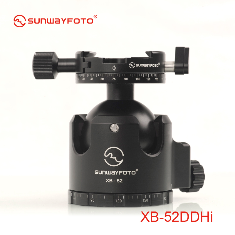 SUNWAYFOTO XB-52DDHI Low-Profile Tripod Head for DSLR Camera Tripode Ballhead  Professional  Monopod Panoramic Tripod Ball Head aluminium alloy professional camera tripod flexible dslr video monopod for photography with head suitable for 65mm bowl size