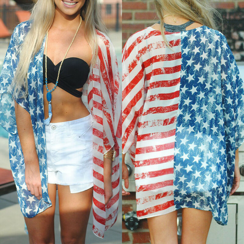 2019 Summer New Women's Loose Summer Casual Bekini Cover-Ups Flag Pattern Cover Up(China)