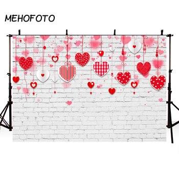 MEHOFOTO fondo de fotografía hermosa pareja Rosa amor corazón telón de fondo pared de ladrillo estudio foto stand Celebración del Día de San Valentín