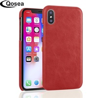 Qosea For Apple IPhone 7 8 X Case Retro Genuine Leather Skin Design Hard Case For
