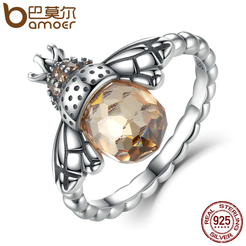 BAMOER 100% Authentic 925 Sterling Silver Orange Wing Animal Bee Finger Ring for Woman Sterling Silver Jewelry Christmas SCR025