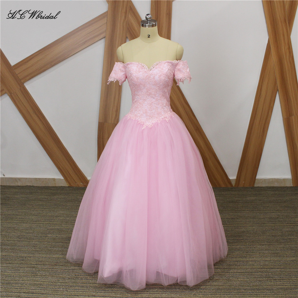 Pink Tulle Long   Prom     Dresses   Boat Neck Short Sleeve Lace A Line Elegant Evening Gowns 2019 Custom Made Wedding Party   Dress   Cheap