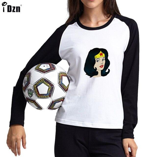 94966e1ba Mulher maravilha Estrelas Cabeça retrato T-shirt Gráfico Príncipe Rogers  Raglan Patchwork Manga Comprida Tees