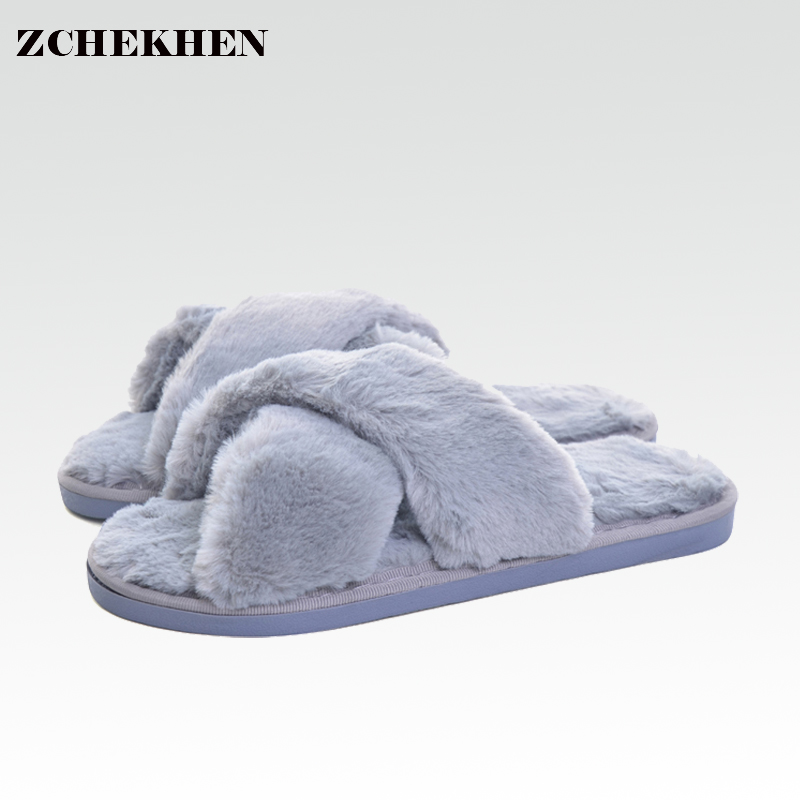 Plush Slippers W Warm Fur Shoes Women Soft Bottom Comfortable Indoor Floor Home Slippers Chaussure Femme 100388 flat fur women slippers 2017 fashion leisure open toe women indoor slippers fur high quality soft plush lady furry slippers
