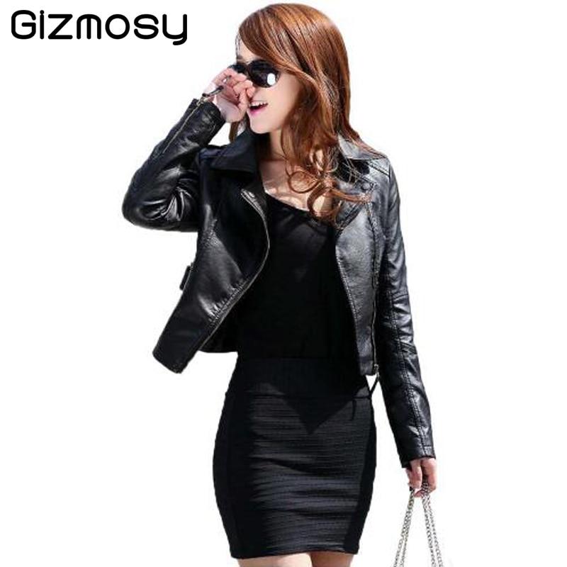 1 Pcs Vintage PU <font><b>Leather</b></font> Jacket Women Slim Biker Motorcycle Soft Outwear Faux <font><b>Leather</b></font> Zipper Jackets Spring Ladies Coats BN122