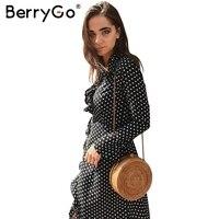 BerryGo Sexy boho ruffle polka dot stampa wrap dress Women vintage manica lunga maxi vestito Elegante con scollo a v irregolare abito lungo 2017