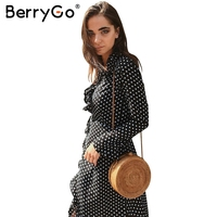 BerryGo Sexy Boho Ruffle Polka Dot Wrap Dress Women Floral Print Long Sleeve Maxi Dress Chic