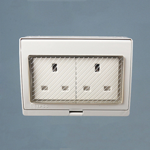 IP55 Wall Waterproof Dust-proof British Power Socket 250V 13A Double UK Standard Electrical Outdoor Outlet Grounded