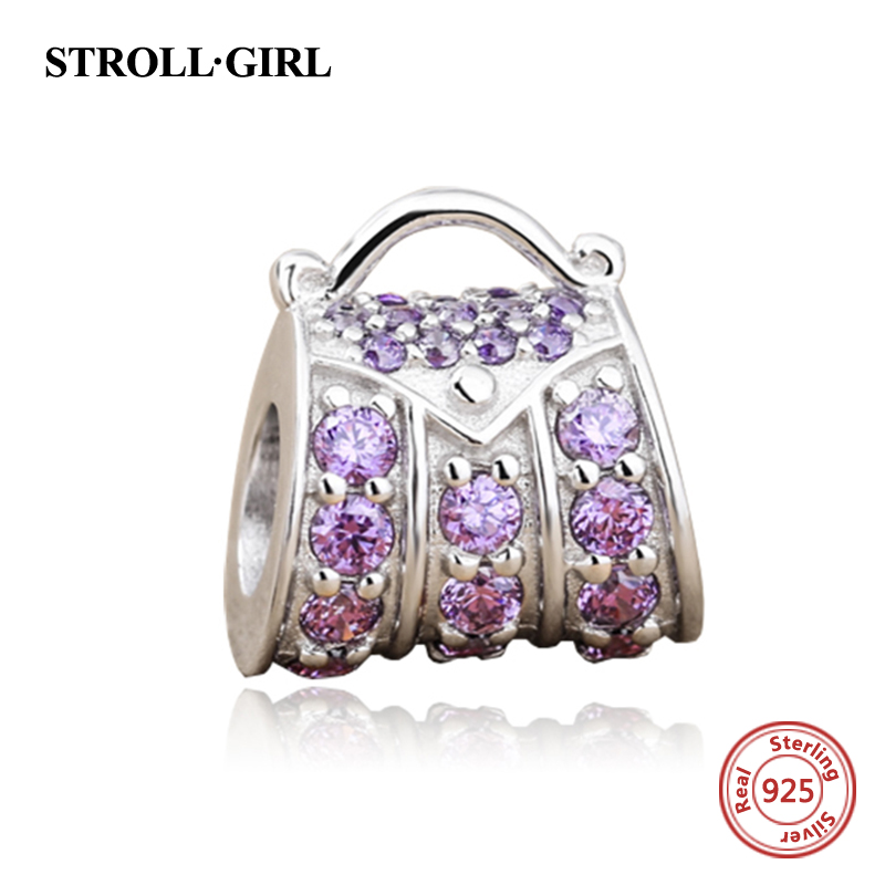 Fit authentic pandora charm silver 925 original beads luxury women handbag charms with purple CZ fashion jewelry making for gift