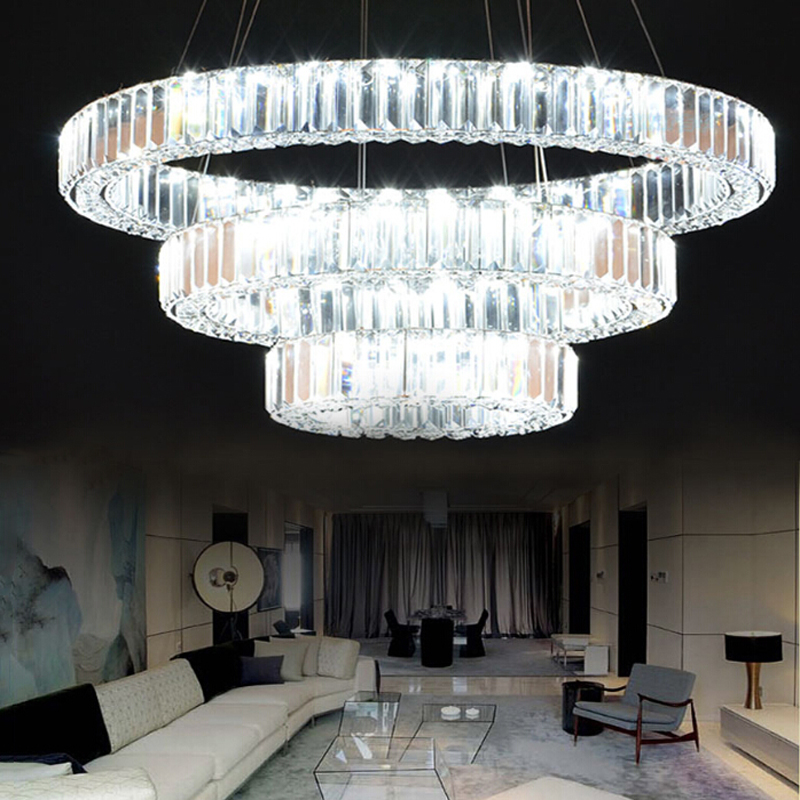 Modern k9 crystal living room lamp three ring LED duplex floor lamp three ring crystal lamp Ring Hotel big Chandelier lamps modern ring chandelier crystal light stainless steel led lamp of the sitting room dining room lamp droplight on three floors