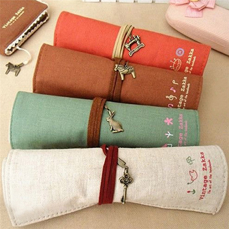 Fantastic Hot Retro Canvas Bag Holder Roll Up Stationery Pen Brushes Makeup Pencil Case Pouch
