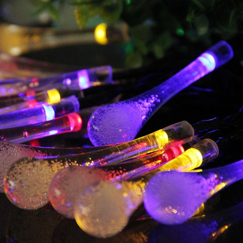 все цены на LED Garden Solar Light String lights LED RGB Christmas light Waterproof Outdoor Fairy Ligths Garland Party Wedding Decoration онлайн