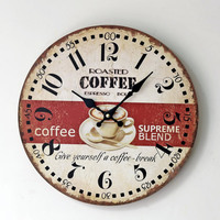 2016 New Vintage Coffee Wall Clock Modern Design Wooden Hanging Retro Silent Wall Clocks Decor Watch