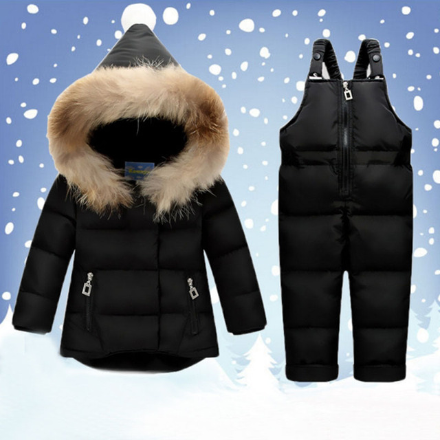 2018 Kids Snowsuits Winter Autumn Hooded Down Jackets For Girls Children Clothes Toddler Girl Outerwear Jumpsuit Clothing Set