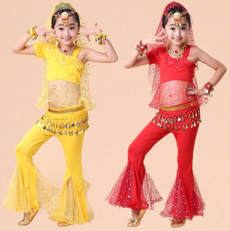 4pcs/1set Kids Professional India Dancewear Children Belly Dance Costumes For Girls Egypt Dancing BELLYDANCE Costume for Girl