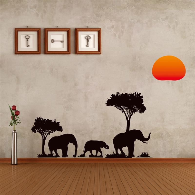 Tree Elephants Sunrising Wall Stickers Living Room Decoration Safari Decals Animals Plant African Style Art Peel