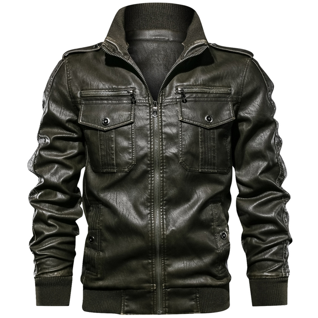 Military Army Mens Motorcycle Leather Jackets Coats Stand Collar Multi-pocket Pu Leather Coat European size S-XXL Dropshipping 1