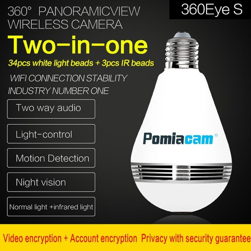 3MP 1 3MP Wireless IP Camera Bulb Light 360 Degree FishEye 3D VR Mini Panoramic Home