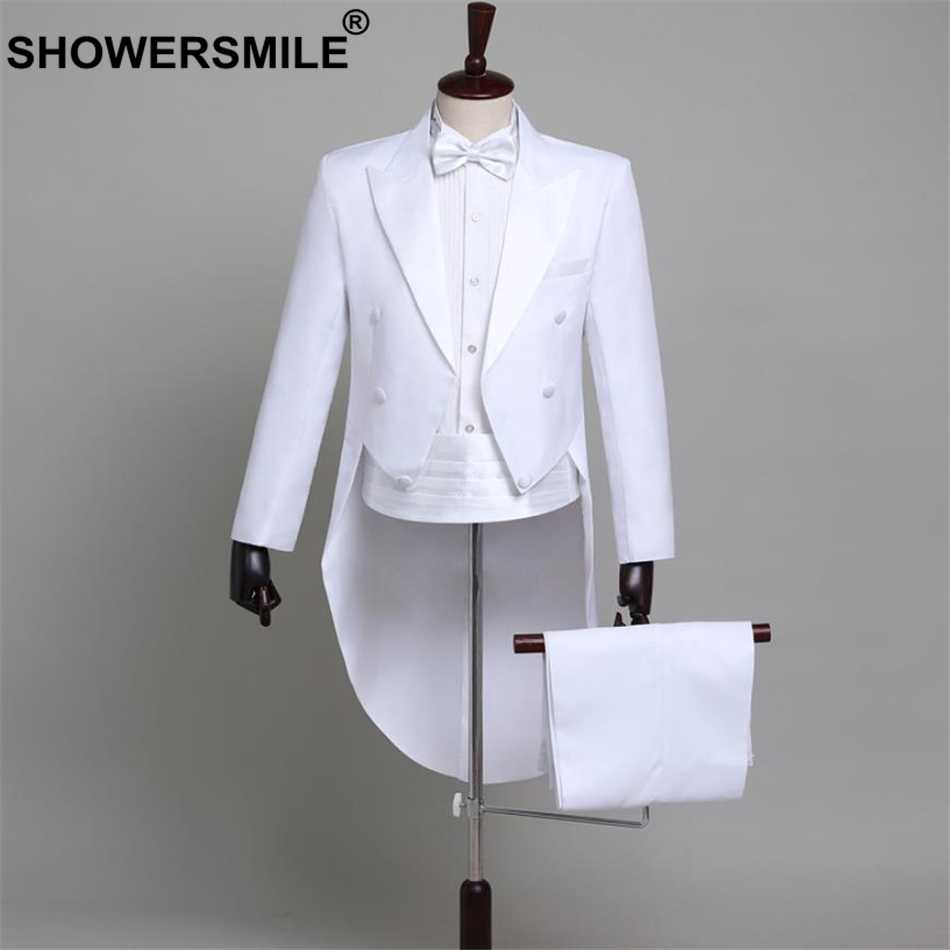 SHOWERSMILE Men Suits 4 Piece Set Groom Tuxedo Weddint Suits White Swallow-tailed Coat Magician Costumes For Performances