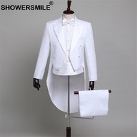SHOWERSMILE Men Suits 4 Piece Set Groom Tuxedo Weddint Suits White Swallow tailed Coat Magician Costumes For Performances