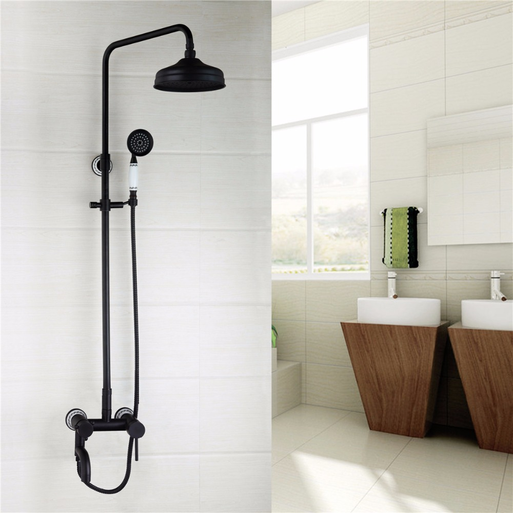 Contemporary Superb in Workmanship Oil Rubber Bronze Bathroom Faucet Wall Mounted Hot Cold Water Excellent Shower Faucet