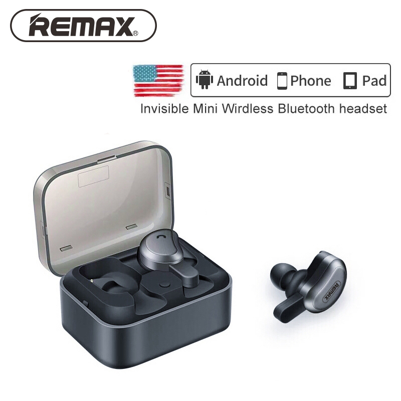 remax bluetooth binaural earphone true wireless Stereo earbuds with Mini Charging Box Bluetooth Bass Earbuds for