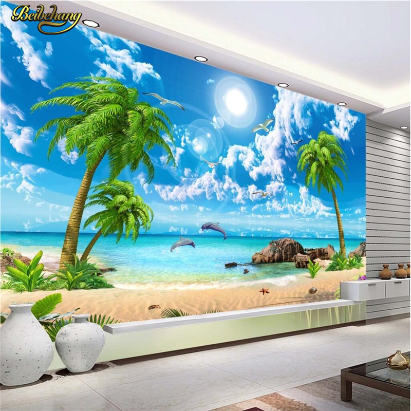 Buy beibehang custom photo wallpaper for Beach view wall mural