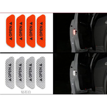 New 4 pcs / Set Of Car Reflective Belt Warning Sign With Door Open Safe Night Driving Lighting Light Reflectors stickers