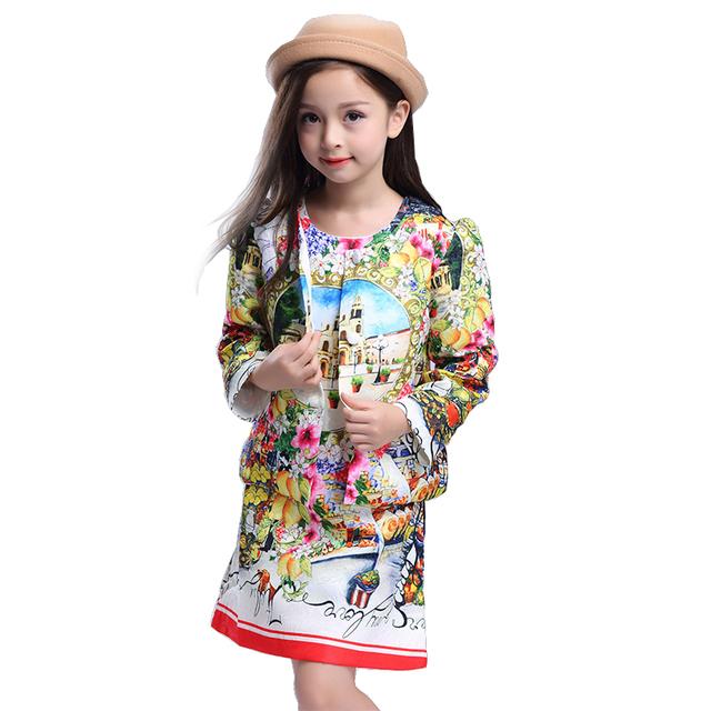 Moda vestido da menina do bebê Roupa Das Crianças Set Crianças Meninas Roupas Define Floral Vestidos de casamento Jaqueta + Vestido casacos