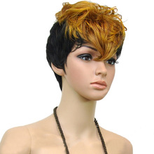Synthetic Hair Double Color Short Curly  Party Wig