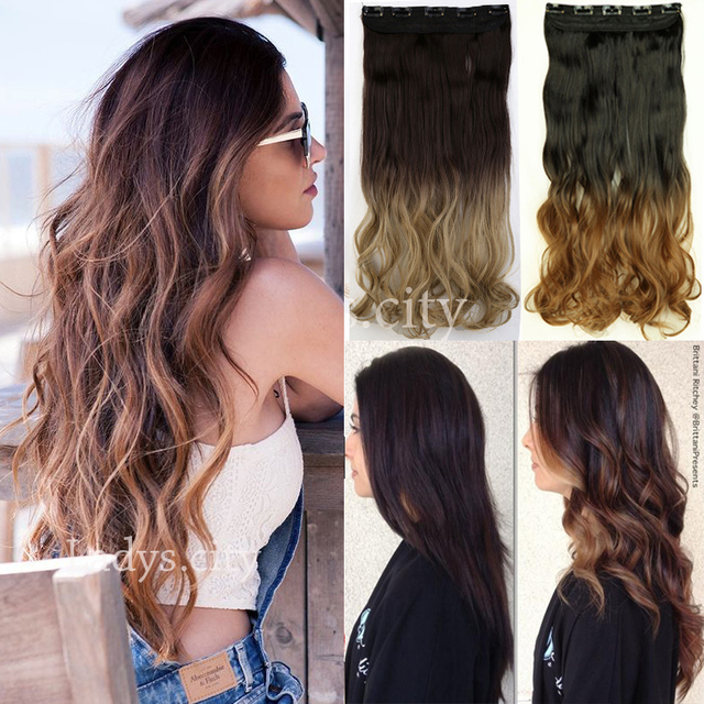 Hot 23 long curly dip dye ombre hair weft clip in extension hair hot 23 long curly dip dye ombre hair weft clip in extension hair extensions brown pmusecretfo Image collections